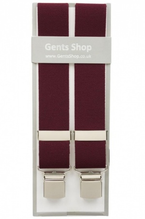 Plain Maroon Elastic Trouser Braces With Large Clips
